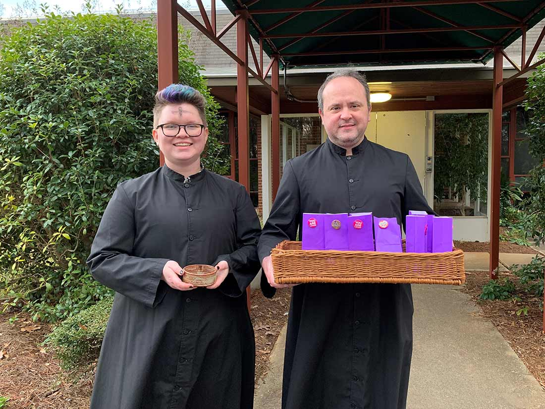 Seminarians help with Ashes to Go, February 26, 2020